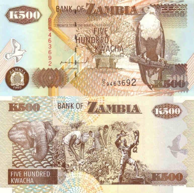 ZAMBIA 500 KWACHA 1991 P 35 UNC AFRICAN MONEY